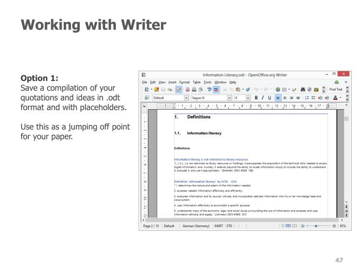 Working with Writer