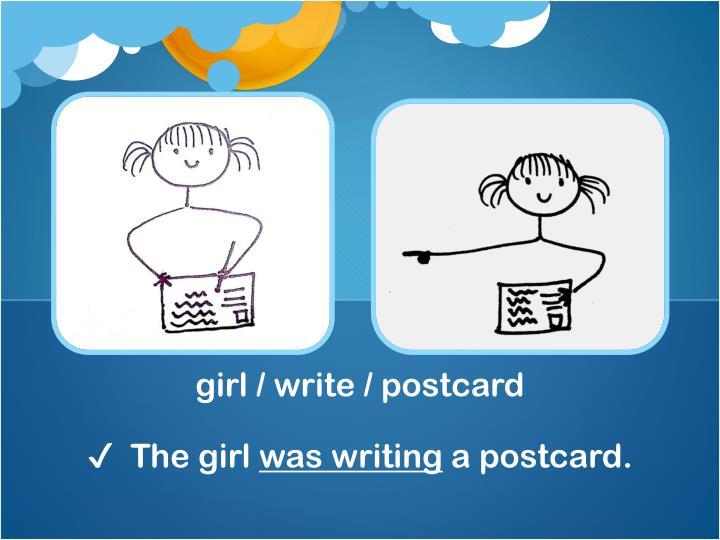 girl / write / postcard