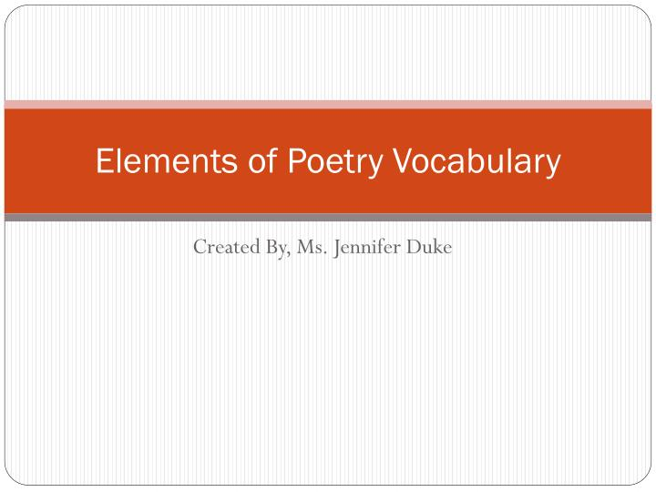 Elements of poetry vocabulary