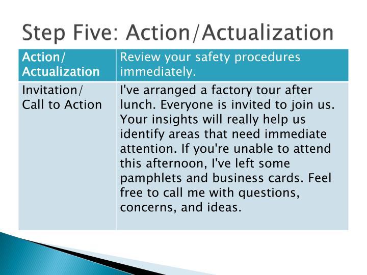 Step Five: Action/Actualization