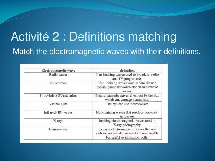 Activit 2 definitions matching