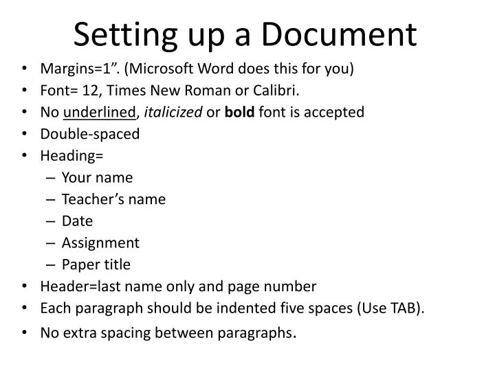 Setting up a Document