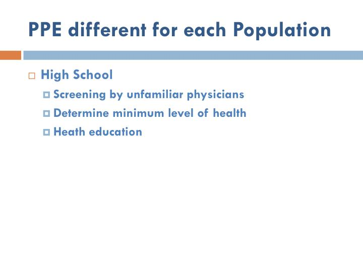 PPE different for each Population