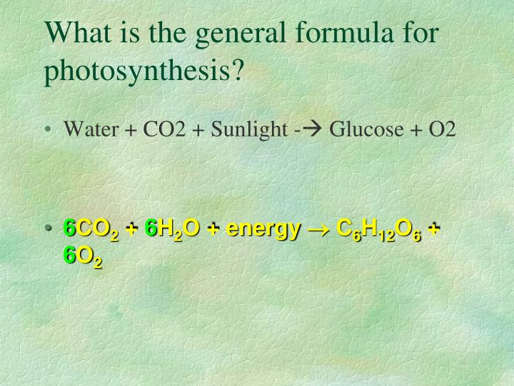 What is the general formula for photosynthesis?