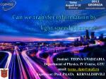 can we transfer information by light speed photons