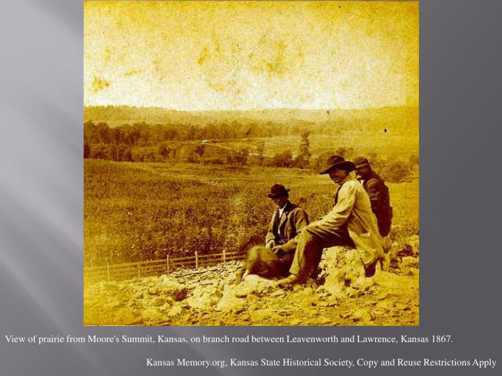 View of prairie from Moore's Summit, Kansas, on branch road between Leavenworth and Lawrence, Kansas 1867.