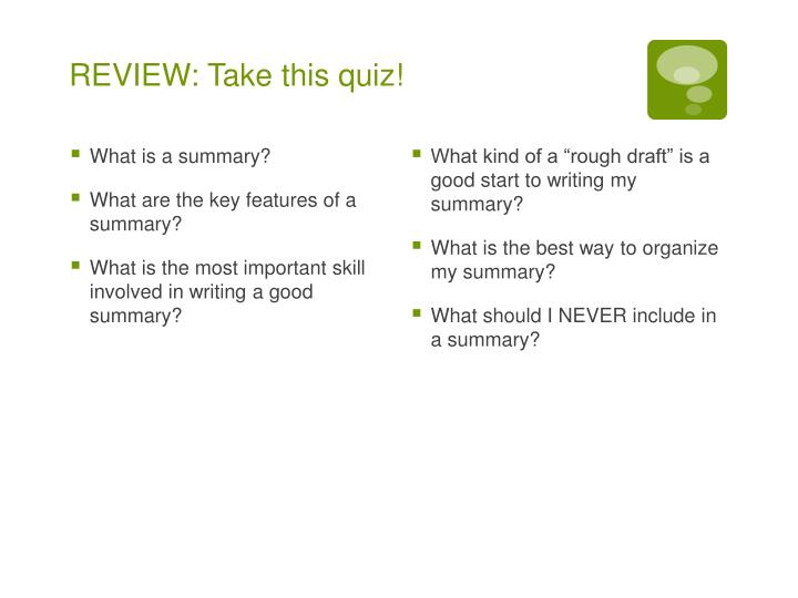 REVIEW: Take this quiz!