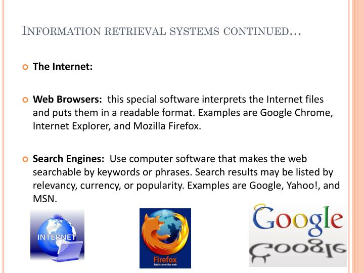 Information retrieval systems continued…
