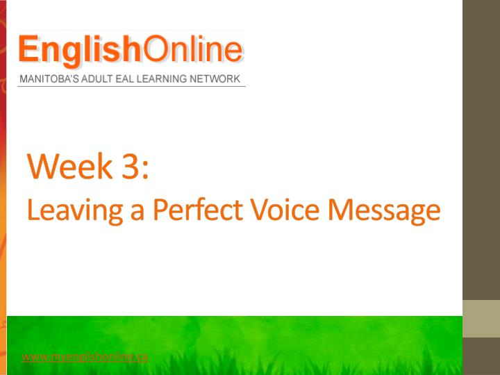 Week 3 leaving a perfect voice message