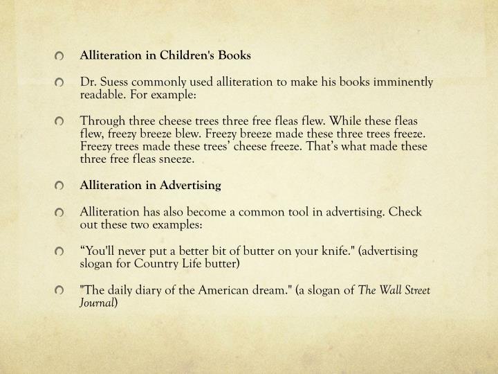 Alliteration in Children's Books