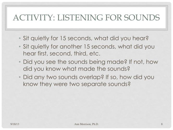 Activity: Listening for Sounds