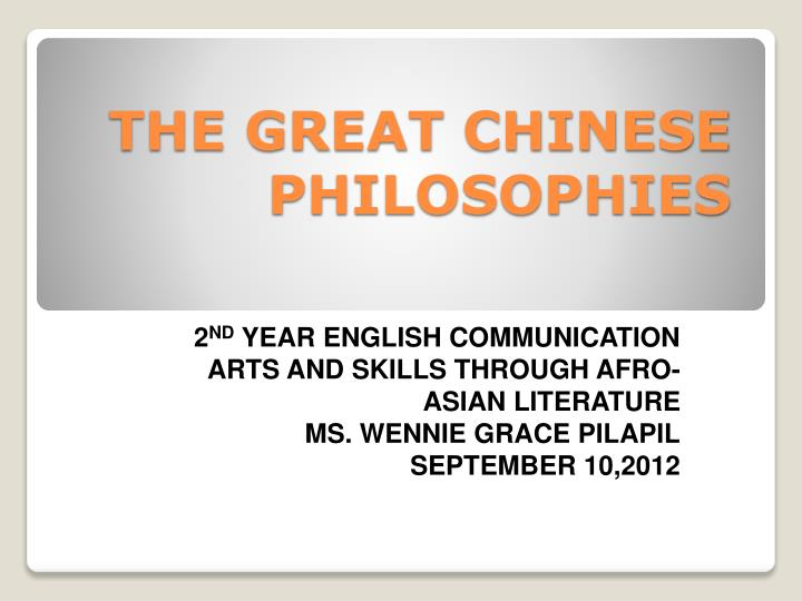 the great chinese philosophies n.