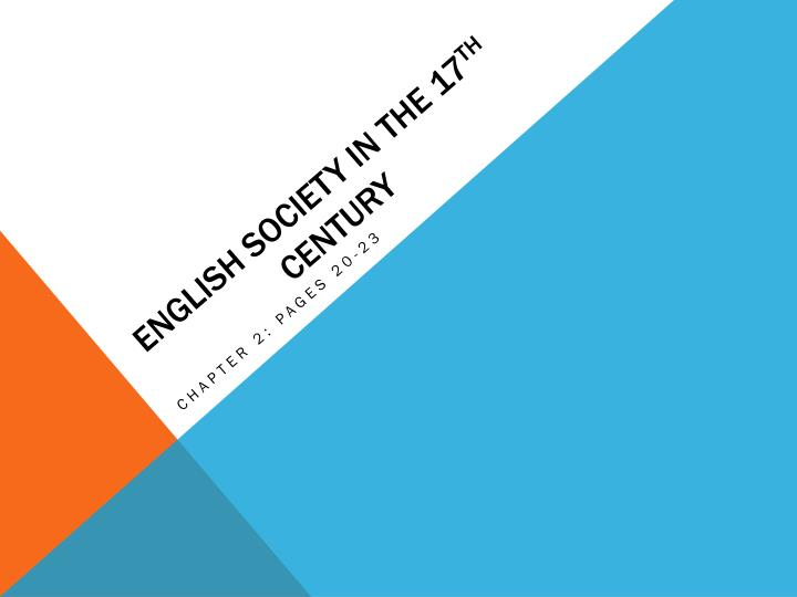 english society in the 17 th century n.