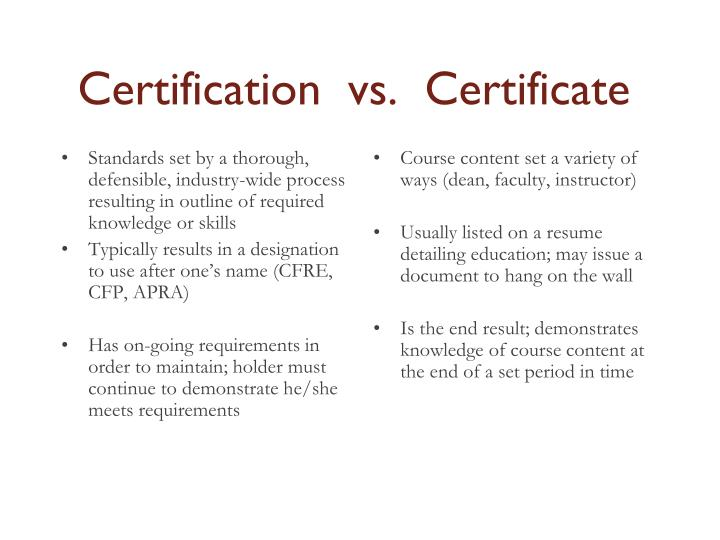 Standards set by a thorough, defensible, industry-wide process resulting in outline of required knowledge or skills