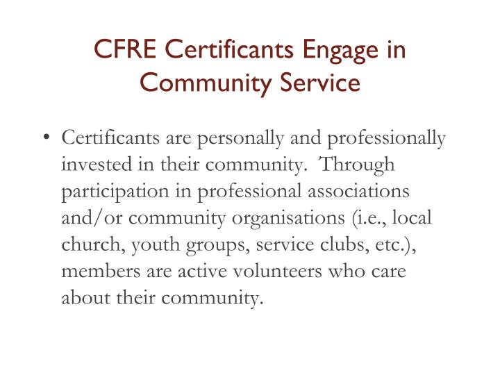 CFRE Certificants Engage in Community Service