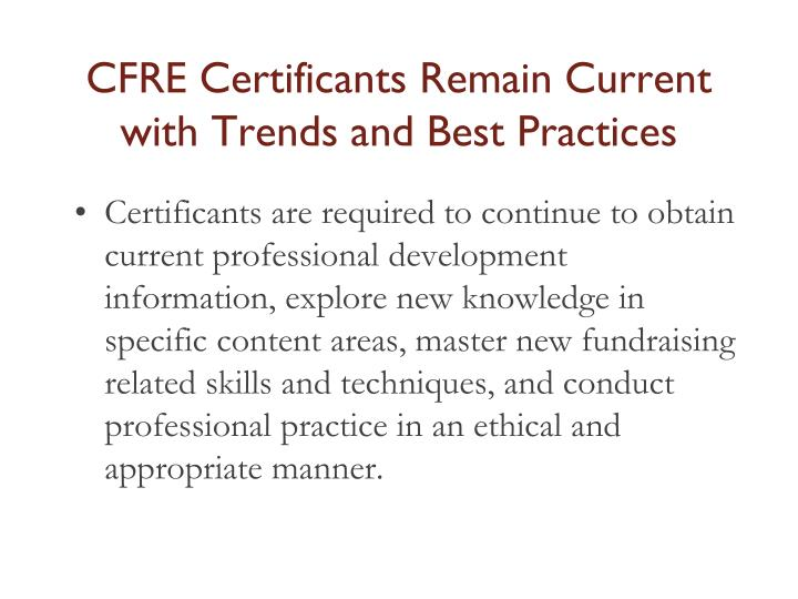 CFRE Certificants Remain Current with Trends and Best Practices
