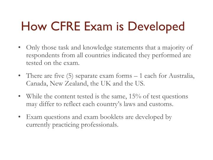 How CFRE Exam is Developed