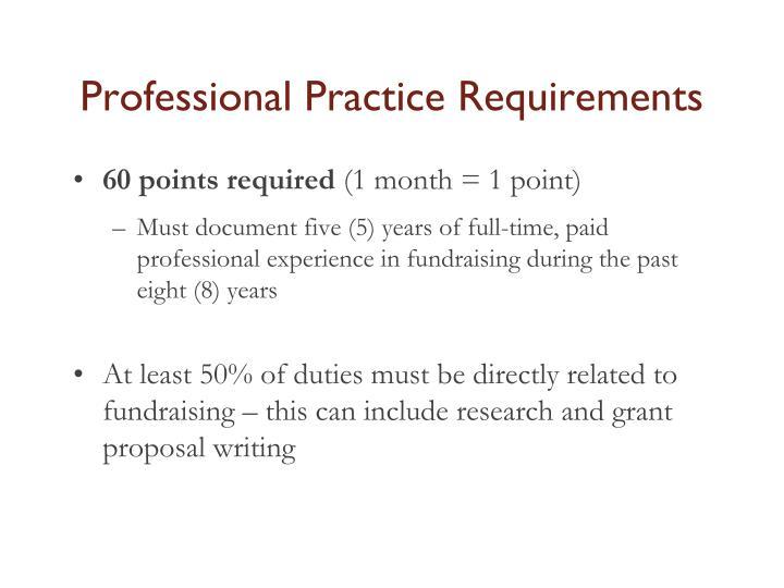 Professional Practice Requirements