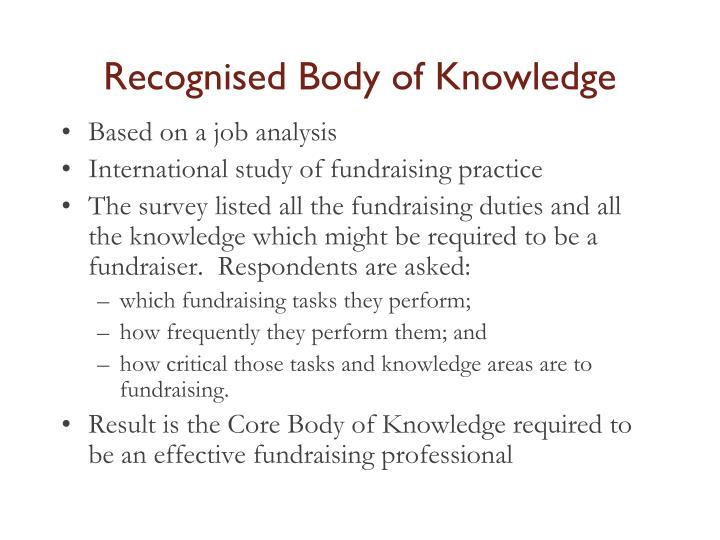 Recognised Body of Knowledge