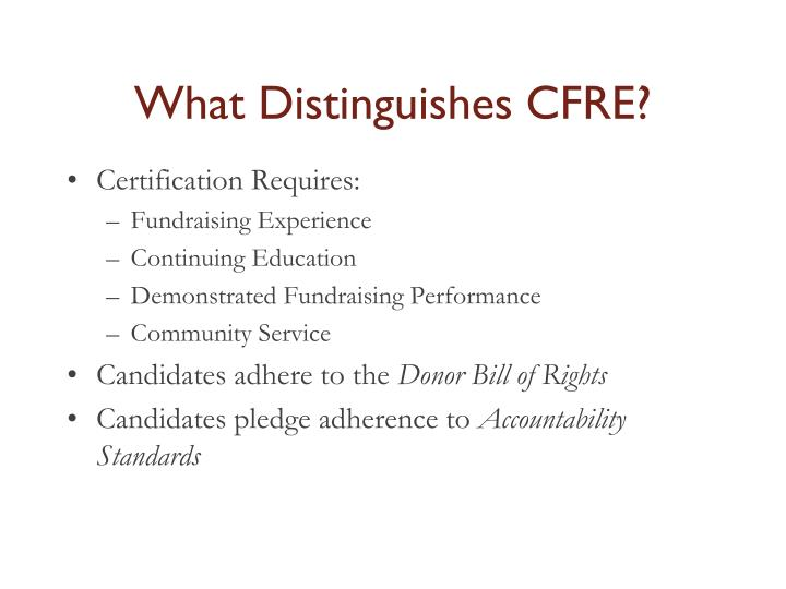 What Distinguishes CFRE?