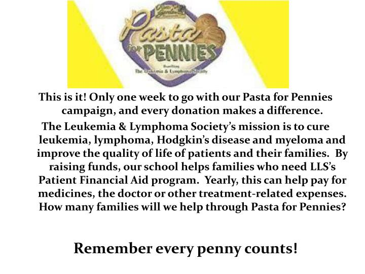 This is it! Only one week to go with our Pasta for Pennies campaign, and every donation makes a difference.