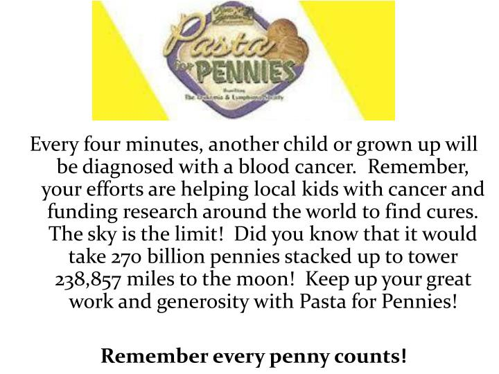 Every four minutes, another child or grown up will be diagnosed with a blood cancer.  Remember, your efforts are helping local kids with cancer and funding research around the world to find cures.  The sky is the limit!  Did you know that it would take 270 billion pennies stacked up to tower 238,857 miles to the moon!  Keep up your great work and generosity with Pasta for Pennies!