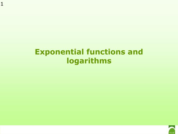 exponential functions and logarithms n.