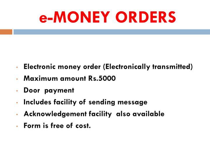 E Money Orders