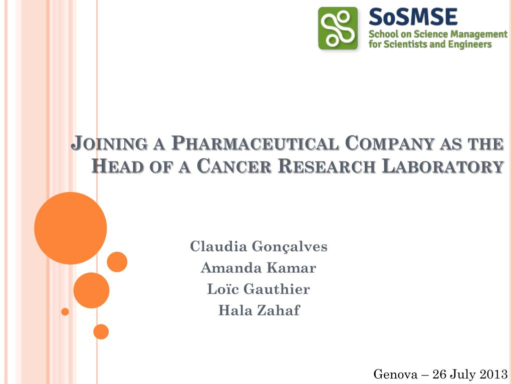 PPT - Joining a Pharmaceutical Company as the Head of a