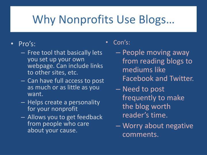 Why Nonprofits Use Blogs…