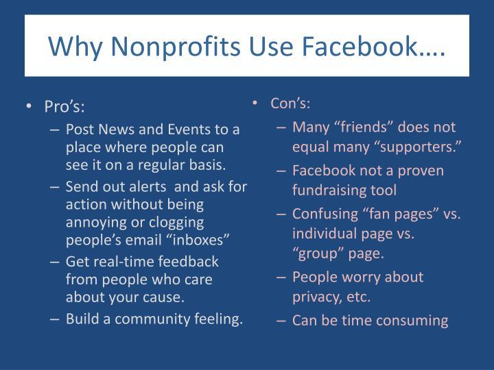 Why Nonprofits Use Facebook….