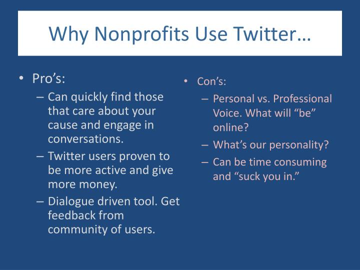 Why Nonprofits Use Twitter…