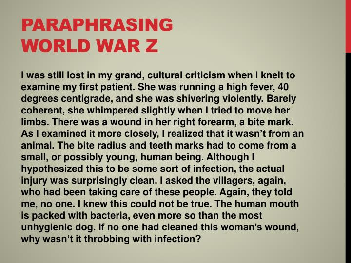 Paraphrasing world war z