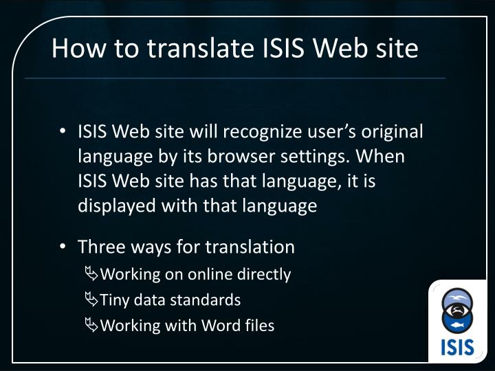 How to translate ISIS Web site