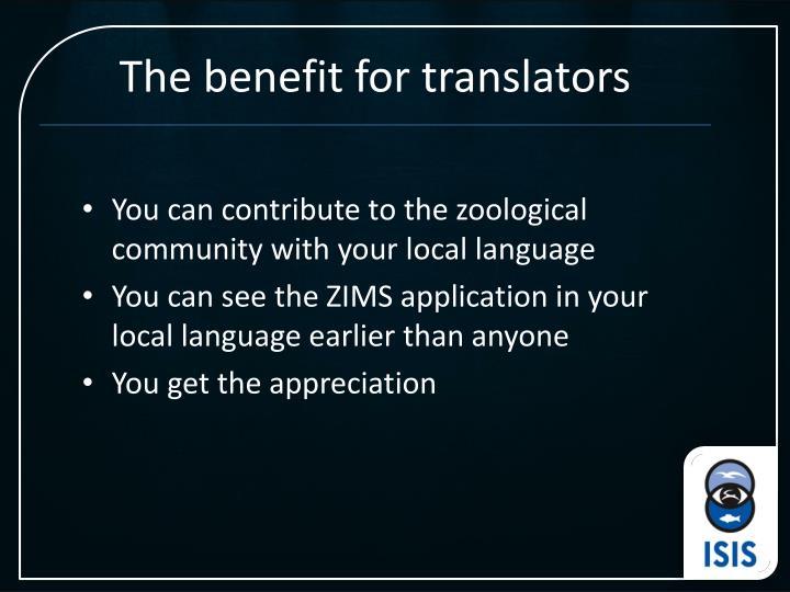 The benefit for translators