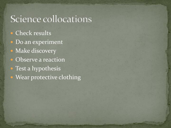 Science collocations