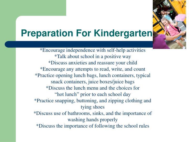 Preparation For Kindergarten