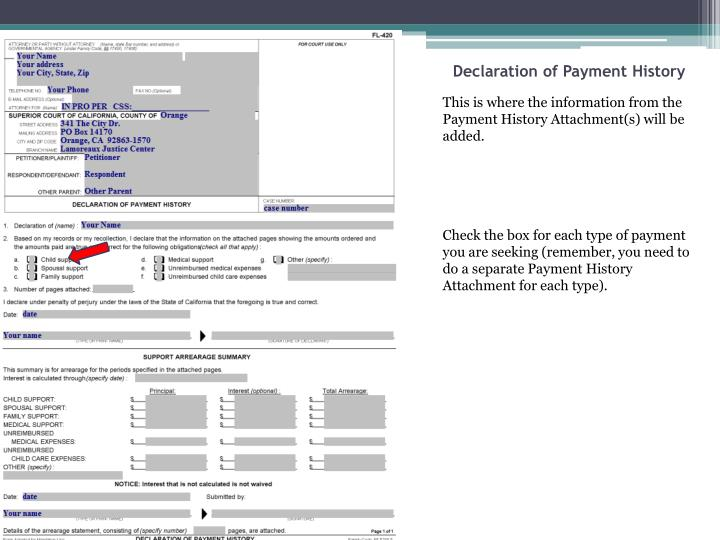 Declaration of Payment History