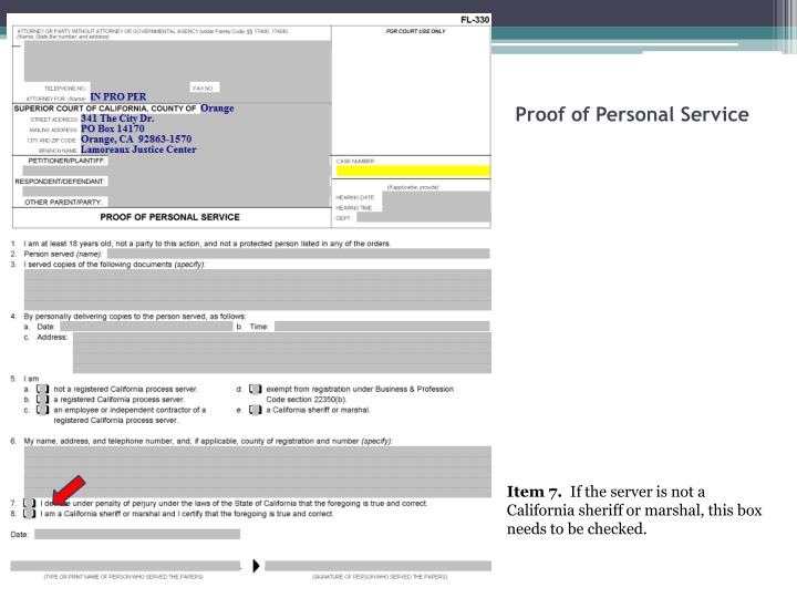 Proof of Personal Service