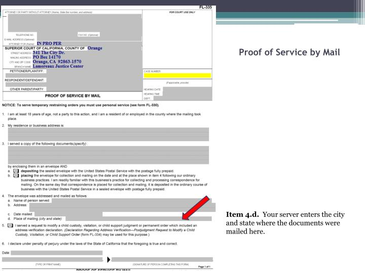Proof of Service by Mail