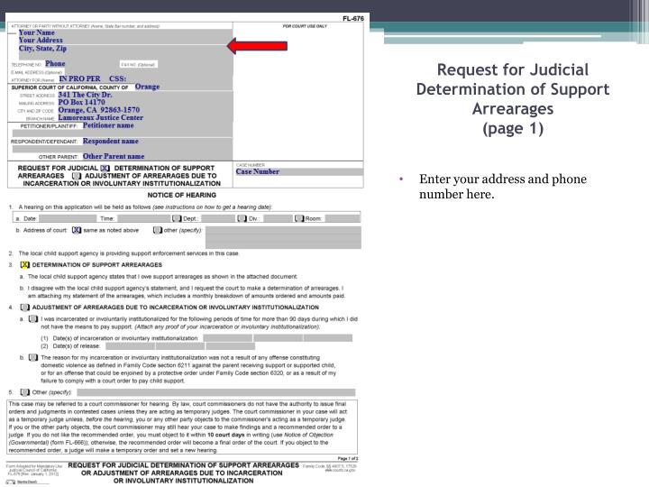 Request for judicial determination of support arrearages page 1
