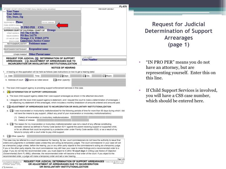 Request for Judicial Determination of Support Arrearages