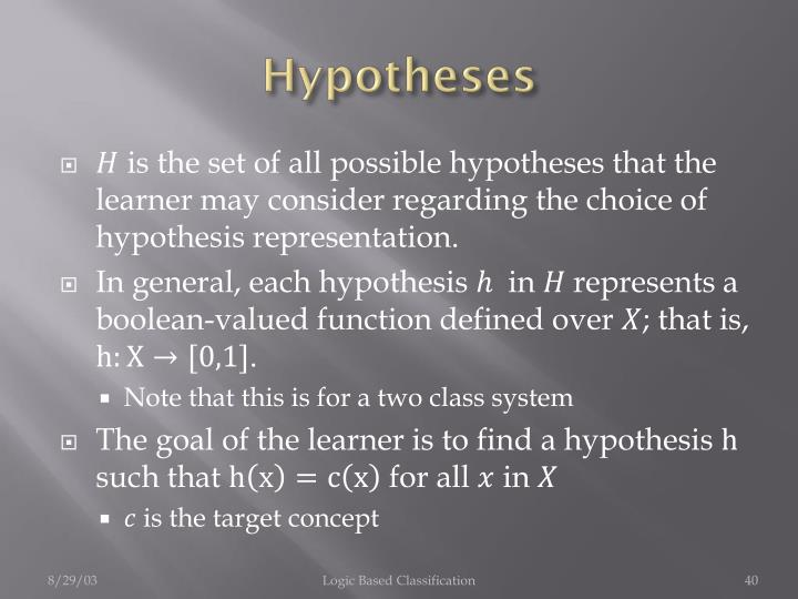 is the set of all possible hypotheses that the learner may consider regarding the choice of hypothesis representation.