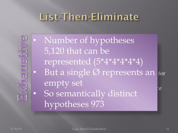 List-Then-Eliminate