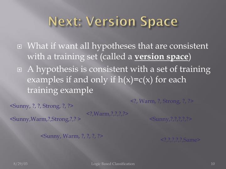 Next: Version Space