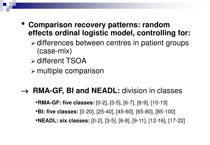 Comparison recovery patterns: random effects ordinal logistic model, controlling for: