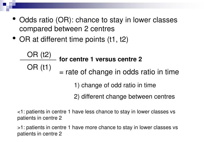 Odds ratio (OR): chance to stay in lower classes compared between 2 centres