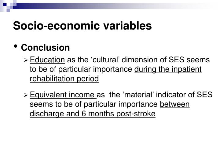 Socio-economic variables
