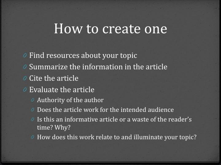 How to create one