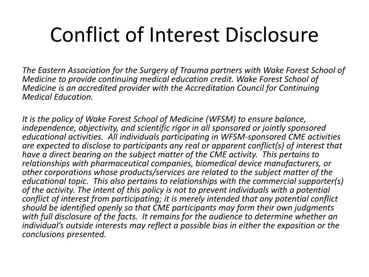 conflict of interest disclosure n.